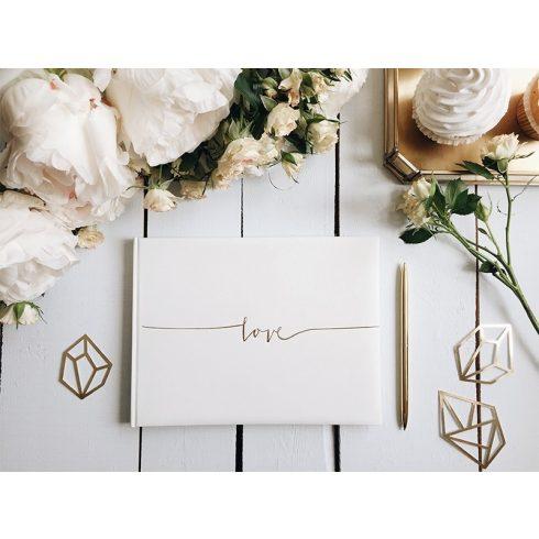 Love - esküvői vendégkönyv arany színű felirattal