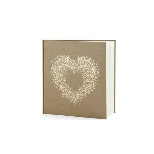 Natúr színű vendégkönyv arany szív mintával