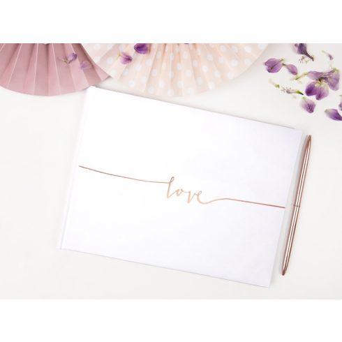 Love - esküvői vendégkönyv rose gold felirattal