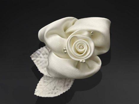 Öntapadós szatén rózsa - krém (10 db-os készlet)