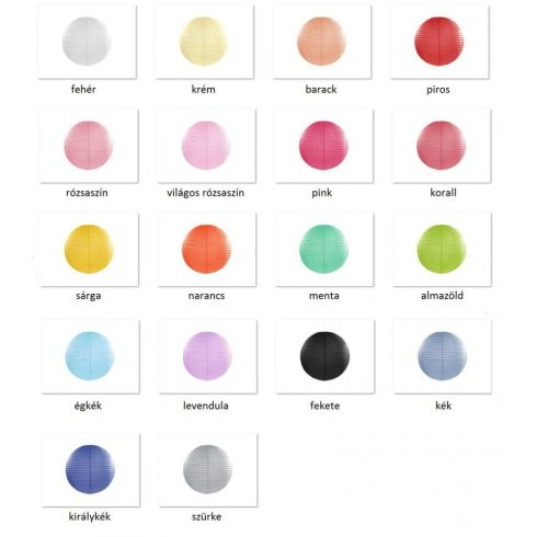 Papírlampion 35 cm több színben