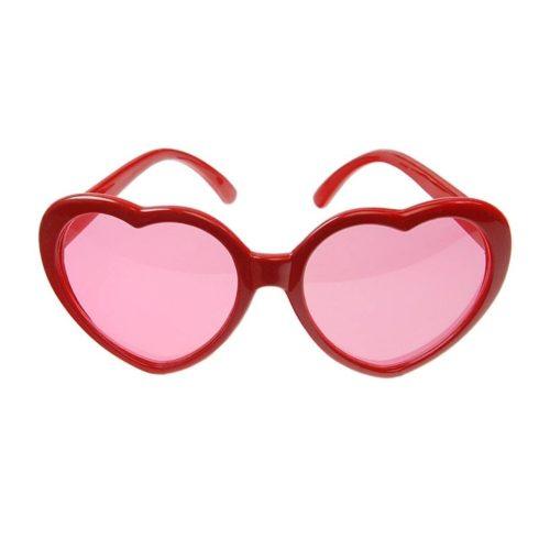 Szíves szemüveg -  piros