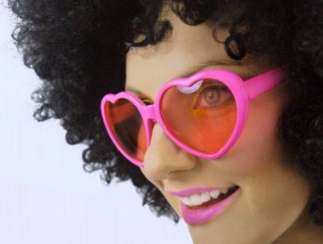 Szíves szemüveg - rózsaszín