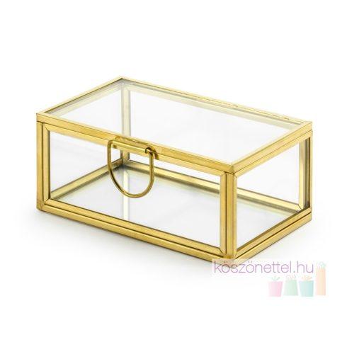 Lakattartó üvegdoboz szív alakú lakatokhoz (Gravírozható)