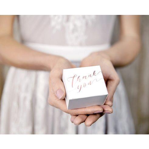"""""""Thank you"""" rose gold mintás köszönetajándék doboz"""