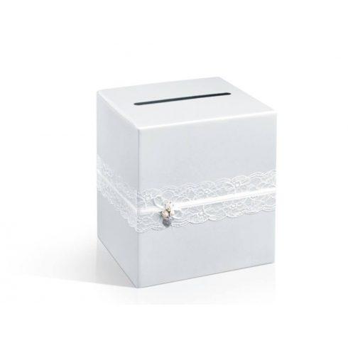 Csipkével díszített nászajándék / jókívánság gyűjtő doboz