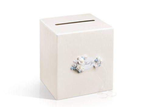 Krém színű nászajándék / jókívánság doboz rózsával díszítve