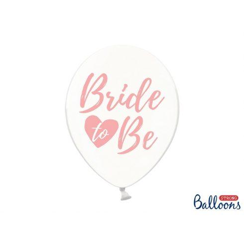 """""""Bride to be"""" átlátszó lánybúcsús lufi rózsaszínű felirattal"""