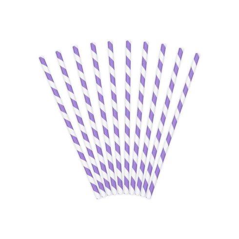 Csíkos papírszívószál - lila (10 db-os csomag)
