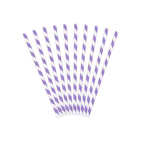 Csíkos papírszívószál - lila (10 db-os csomag) (Utolsó 4 csomag raktáron)