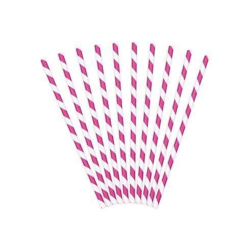 Csíkos papírszívószál - pink (10 db-os csomag)
