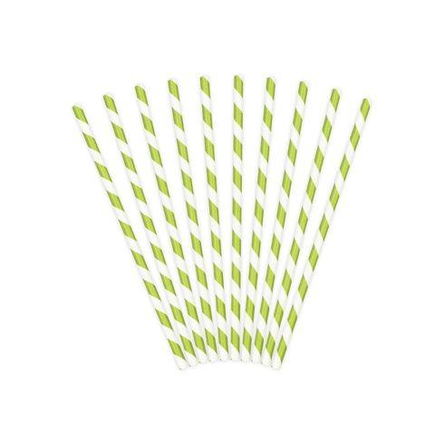 Csíkos papírszívószál - almazöld (10 db-os csomag)