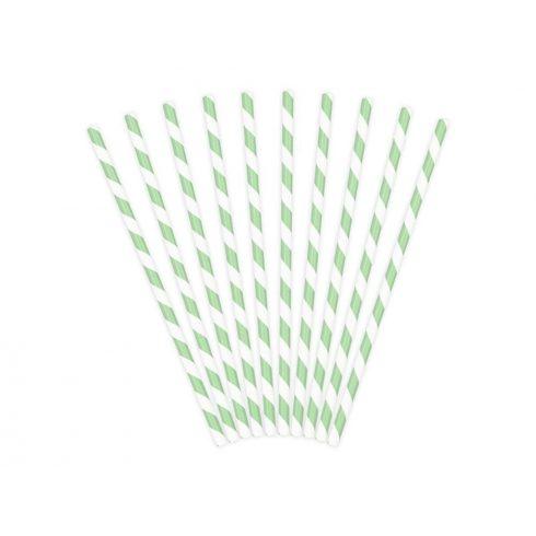 Csíkos papírszívószál - menta (10 db-os csomag)