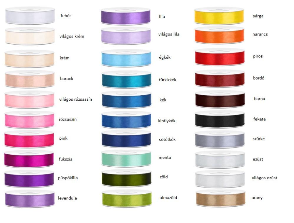 Szatén szalag 12 mm több színben - Köszönettel.hu esküvői webáruház 6e5c941544