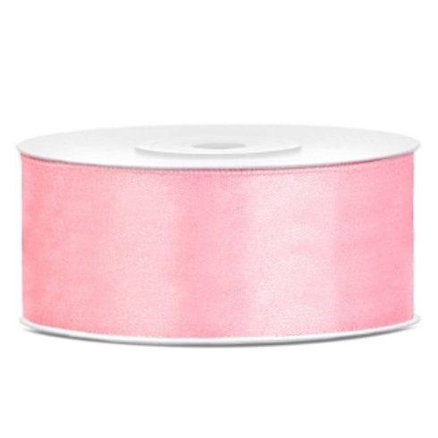 Szatén szalag 25 mm - világos rózsaszín