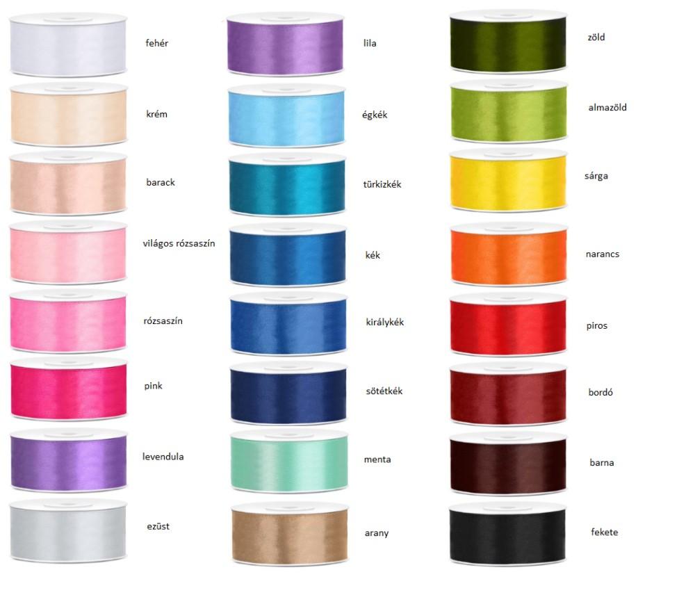 Szatén szalag 25 mm több színben - Köszönettel.hu esküvői webáruház 61a09dc179