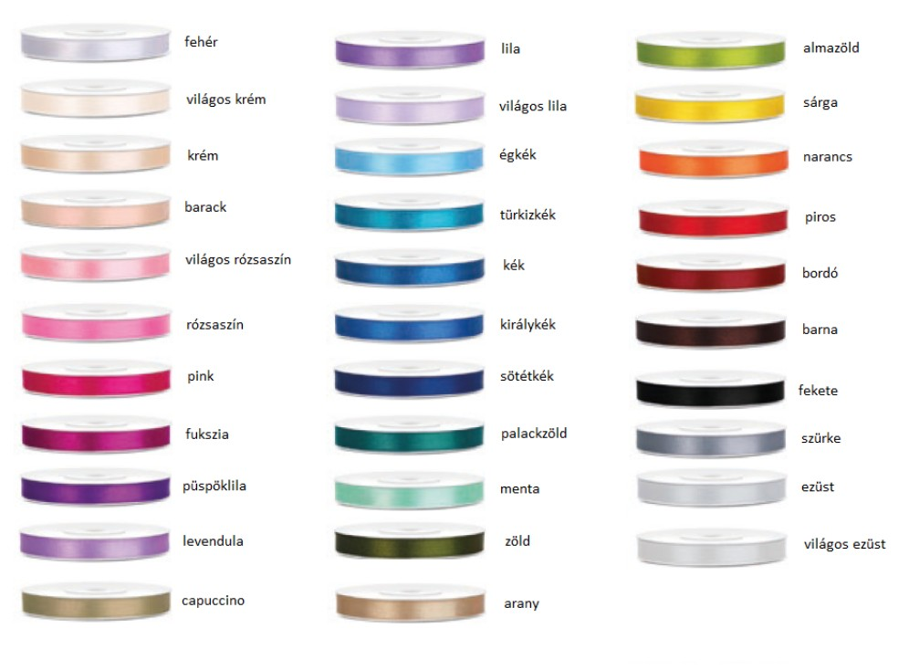 Szatén szalag 6 mm több színben - Köszönettel.hu esküvői webáruház b3df7597e1