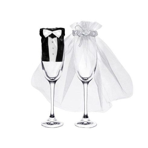 Menyasszony és vőlegény pezsgőspohár öltöztető szett