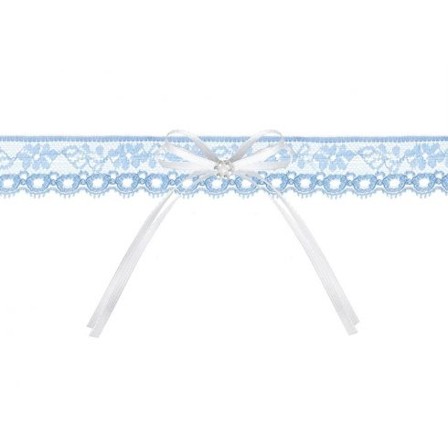 Kék combcsipke fehér masnival