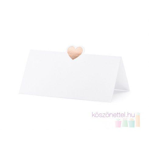 Rosegold szívecskével díszített ültetőkártya