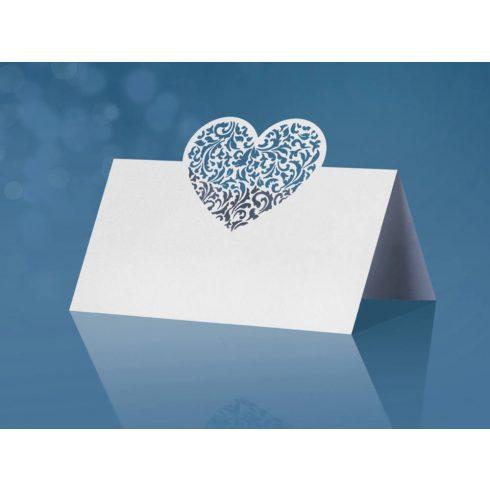 Lézervágott szív - ültetőkártya
