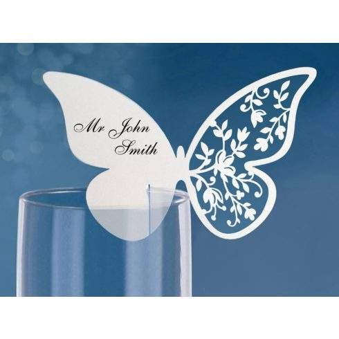Gyöngyház lézervágott pillangó ültetőkártya