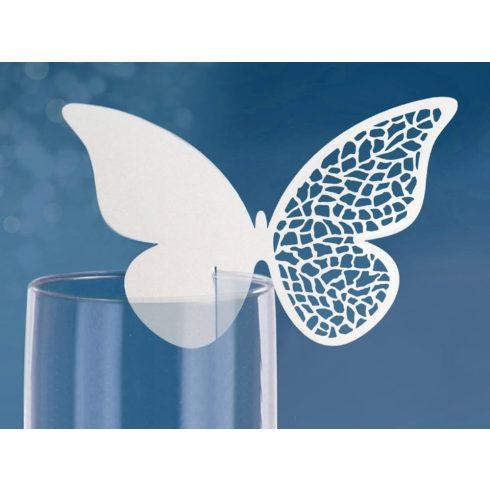 Fehér mintás pillangó - ültetőkártya