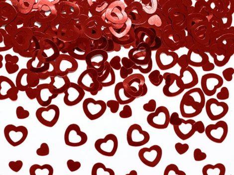 Metál szív - konfetti piros