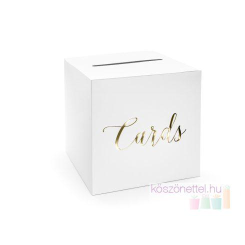 """""""Cards"""" esküvői nászajándékgyűjtő / jókívánság doboz aranyszínű felirattal"""