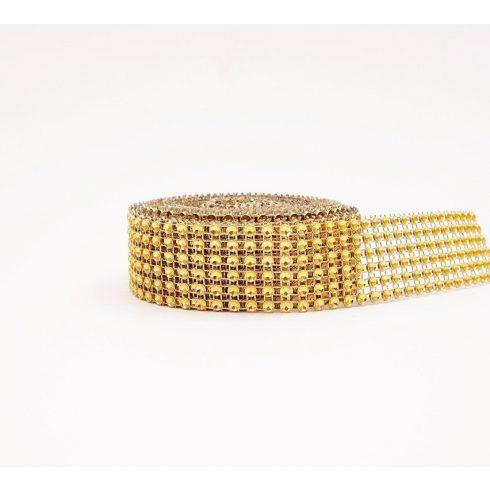 Strassztekercs - arany (3 cm *4,5 m)