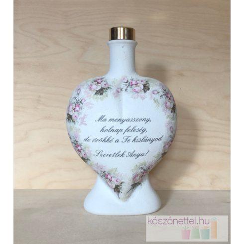 Szülőköszöntő ajándék - festett nagy szív üveg Édesanyának (fix szöveggel)