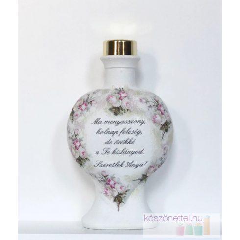 Szülőköszöntő ajándék - festett kicsi szív üveg Édesanyának (fix szöveggel)