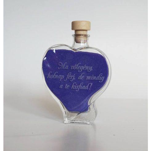 Egyedi igény szerint gravírozott szív palack szülőköszöntésre (200 ml)