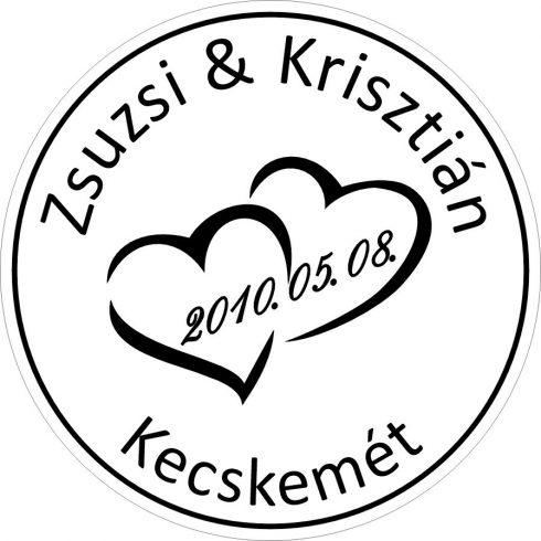 Duplaszíves esküvői pecsét nevekkel és dátummal (tinta nélkül)