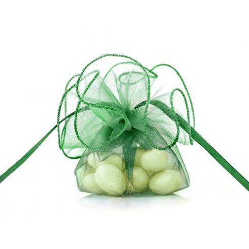 Organza batyu szatén szalaggal - smaragdzöld