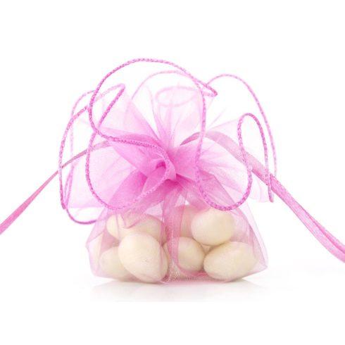 Organza batyu szatén szalaggal -  pink