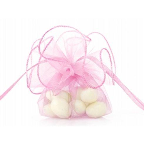 Organza batyu szatén szalaggal -  rózsaszín
