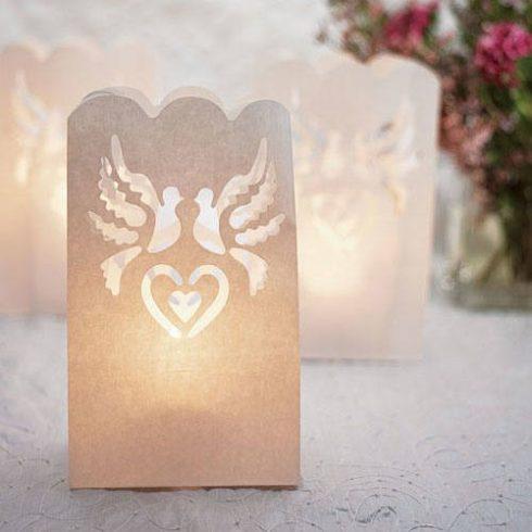 Esküvői galambos fénytasak 12x25 cm (utolsó csomag)
