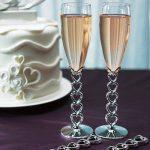 Ezüstözött szívlánc - pezsgőspohár készlet