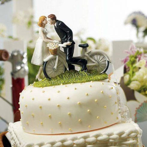 """""""Biciklis szerelem"""" esküvői tortadísz"""