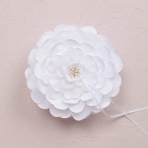 Virágszirom - gyűrűpárna fehér