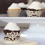Lézervágott csillámos cupcake szalag több színben - klasszikus