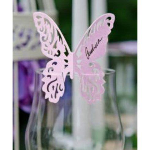 Lézervágott pillangó - ültetőkártya több színben