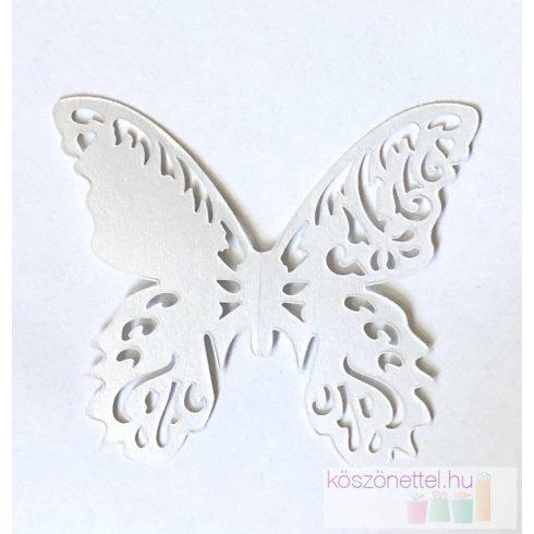 Lézervágott pillangó - gyöngyház fényes fehér (Utolsó 26 db raktáron)