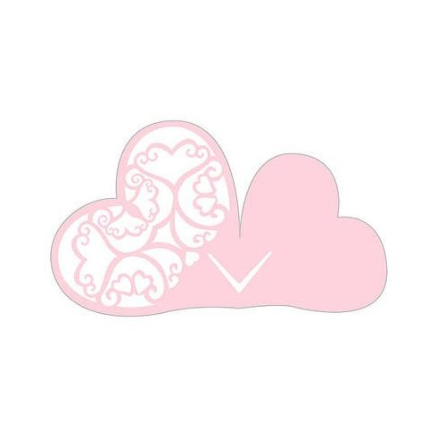 Lézervágott szív ültetőkártya rózsaszín