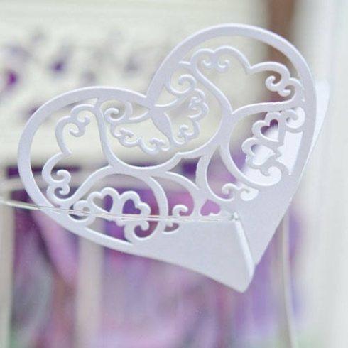 Lézervágott szív ültetőkártya fehér