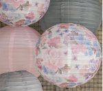 Vintage virágos papír lampion két méretben
