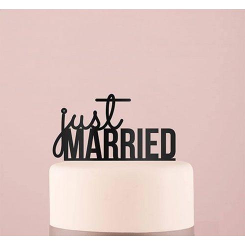 Just Married feliratos tortadísz - fekete